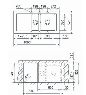 Chiuveta bucatarie cu doua cuve din tegranit Teka Aura 60 B TG 11/2B 1D [1]