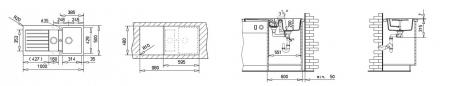 Chiuveta bucatarie cu doua cuve din tegranit Teka Lugo 60B TG 1 12B 1D1