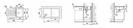 Chiuveta bucatarie cu o cuva si blat din tegranit Lugo 45B TG 1B 1D1
