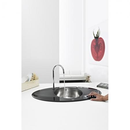Chiuveta din inox si sticla securizata de culoare neagra + baterie cu teava inalta cu Touch control Teka i-Sink 95 DX3