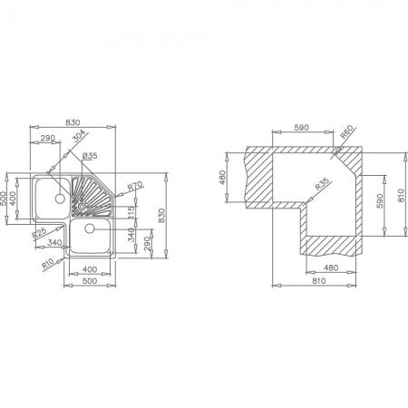 Chiuveta din inox Teka Classic Angular 2B1
