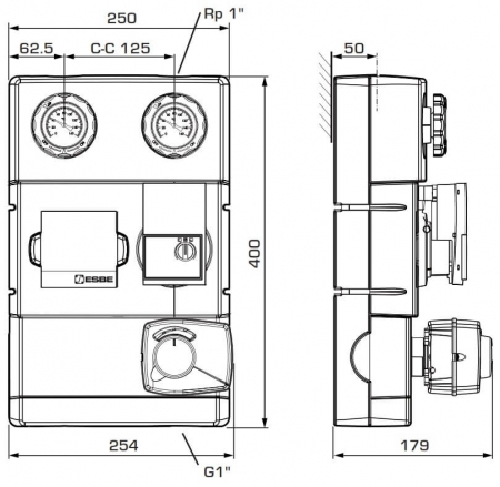 "Grup de circulație cu ventil de amestec si servomotor ESBE GRA 111 - 25, 1""1"