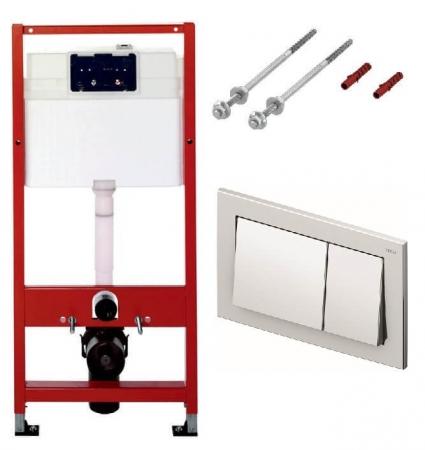 Rezervor WC cu cadru si clapeta crom lucios, TECE BASE, inaltime 1120mm0