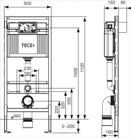 Cadru wc cu bazin TECE Standard cu montaj incastrat inaltime 1120 mm [1]