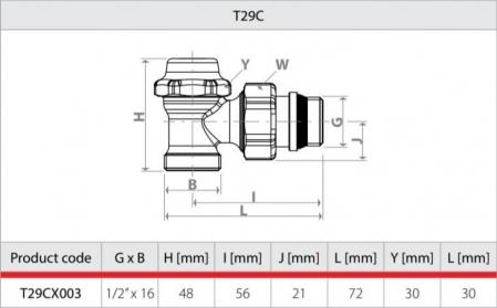 Robinet retur cromat pentru calorifer portprosop, coltar, termostatabil Giacomini T29CX0031
