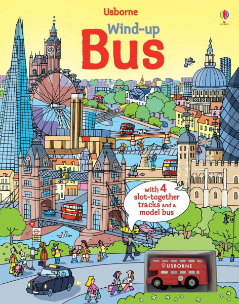 Wind-up bus book with slot-together tracks 0