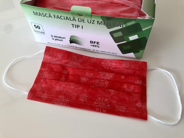 Măști medicale TP1 – rosii  (cutie cu 50 buc.) 0