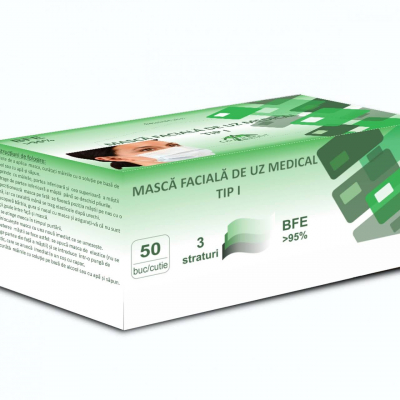Măști MEDICALE tip 1 – albastre (cutie cu 50 buc.) - BFE > 95%0