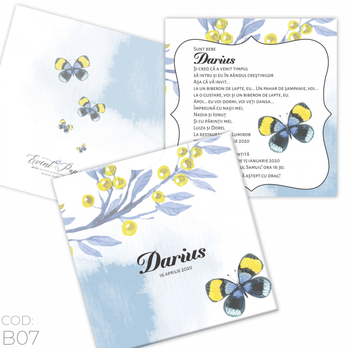 Invitație Botez B07 Butterfly Floral 0