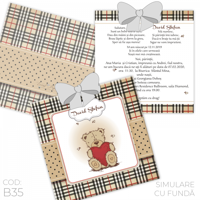 Invitație Botez B35 Teddy Bear 1