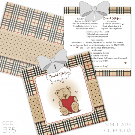 Invitație Botez B35 Teddy Bear1