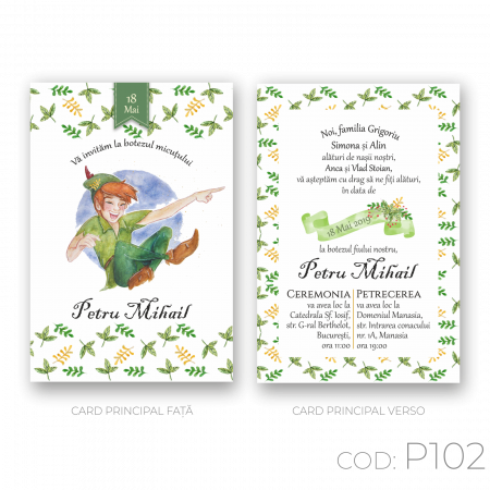 Invitație Botez Postcard P102 Peter Pan / Baby Boy0