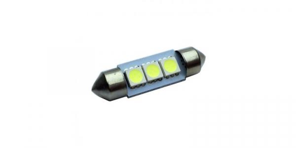 Bec auto 3 LED-uri,SMD 5050, Culoare Alb Rece, 38mm, Alimentare 12V, plafoniera, portbagaj [0]