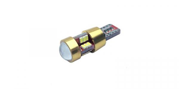 Bec auto pozitie 27 LED-uri cu lupa, SMD 3014, Culoare Alb Rece, Alimentare 12V, soclu T10 [0]