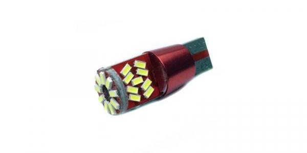 Bec auto pozitie 27 LED-uri, SMD 3014, Culoare Alb Rece, Alimentare 12V, soclu T10 [0]