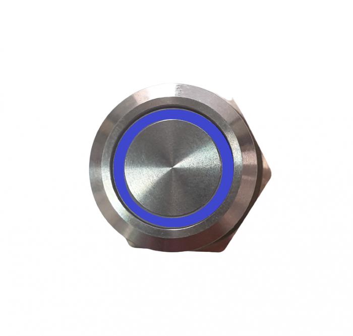 Buton fara retinere NO/NC cu iluminare la 12-24V DC albastru [1]
