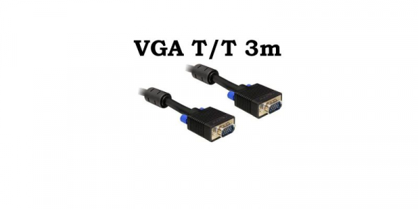 Cablu VGA Tata Tata 3m 15 pini, ecranat, cu bobina antiparaziti [0]