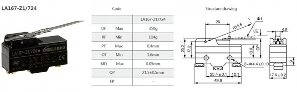 Comutator limitator cu lamela Kenaida LA167-Z1/724 [2]