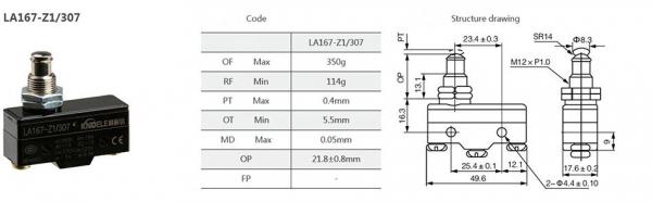 Comutator limitator cu push button fara retinere 25mm inaltime Kenaida LA167-Z1/307 [2]