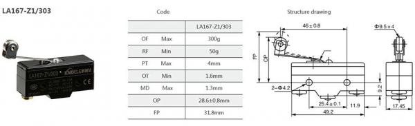 Comutator limitator cu push button, lamela si rola Kenaida LA167-Z1/303 [2]