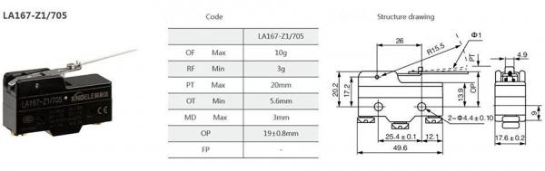 Comutator limitator cu sarma otelita semi-elastica Kenaida LA167-Z1/705 [2]