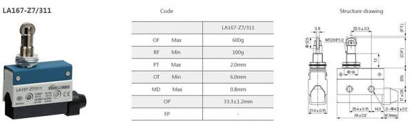 Comutator limitator de cursa cu rola pe ax metalic Kenaida LA167-Z7/311 [2]