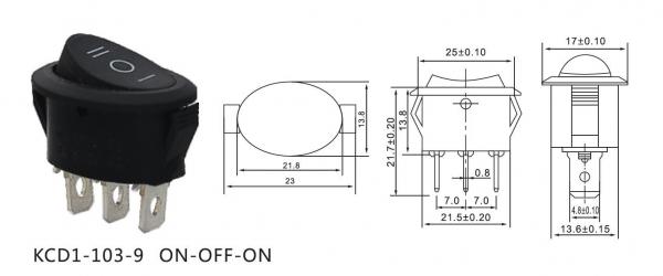 Comutator tip rocker ON-OFF-ON 250V/6A KCD1-103-9 [1]