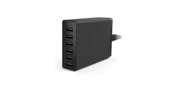 Incarcator 5V 6xUSB cu 2A/USB negru [0]