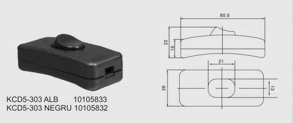 Intrerupator pe fir 250V/2A alb KCD5-303 [1]