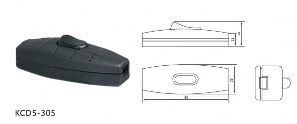 Intrerupator pe fir 250V/2A negru KCD5-305 [1]