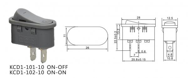 Intrerupator tip rocker ON-OFF 250V/6A gri KCD1-101-10 [1]