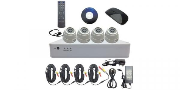 Kit DVR 8 canale 1080H + 4 camere dome 2.0MP, include sursa de alimentare, cabluri, spliter, mouse wireless [0]