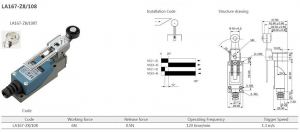 Comutator limitator cu maneta reglabila si rola reglabila din plastic Kenaida LA167-Z8/108 [1]
