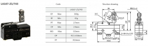 Comutator limitator cu rola la 90 de grade Kenaida LA167-Z1/743 [2]