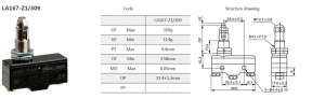 Comutator limitator de cursa cu rola 36mm inaltime Kenaida LA167-Z1/309 [2]