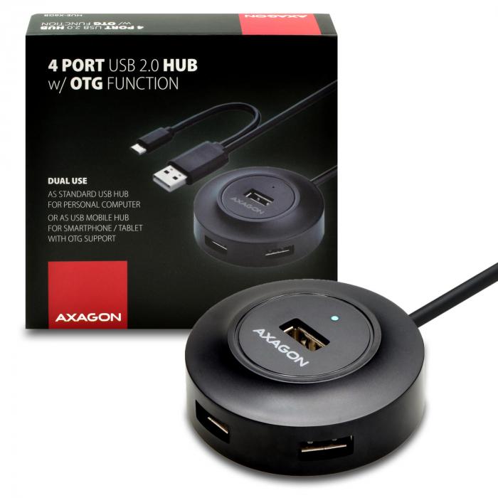 4x USB2.0 Hub 80cm Cable + Micro USB OTG Black [1]
