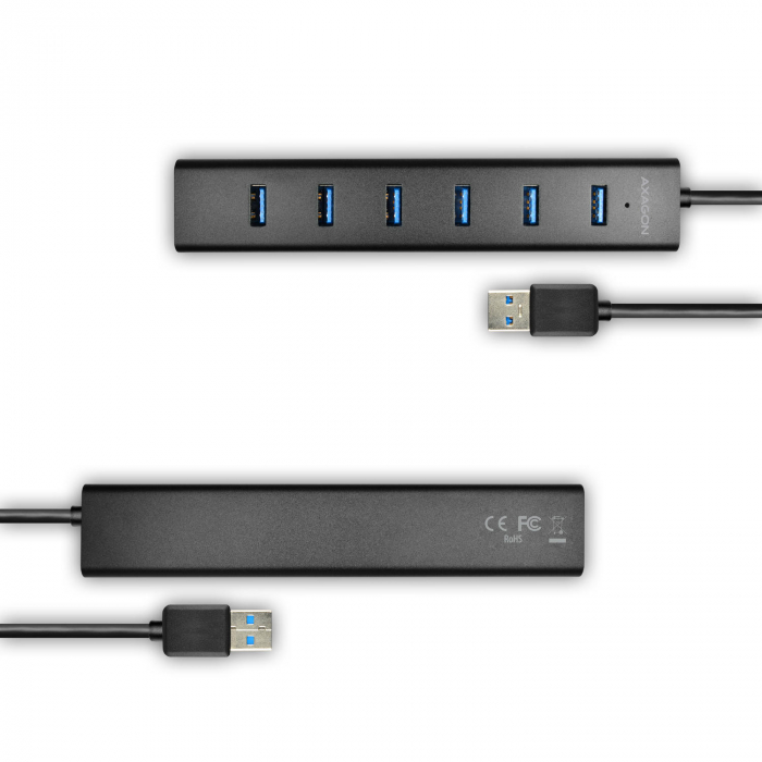 7x USB3.0 ALU Charging Hub Incl. AC Adapter, Black [3]