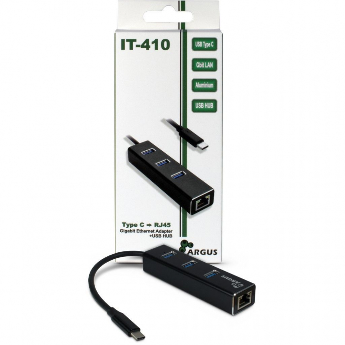 Adaptor retea Inter-Tech IT-410 Gigabit cu HUB USB 3.0 1