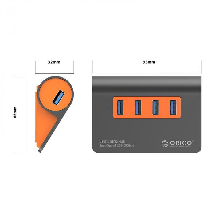 Hub USB Orico M3H4-G2 USB 3.1 Orange 3