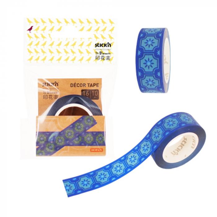 """Banda pentru decorat in rola, 16 mm x 10 m, Stick""""n - design albastru 0"""