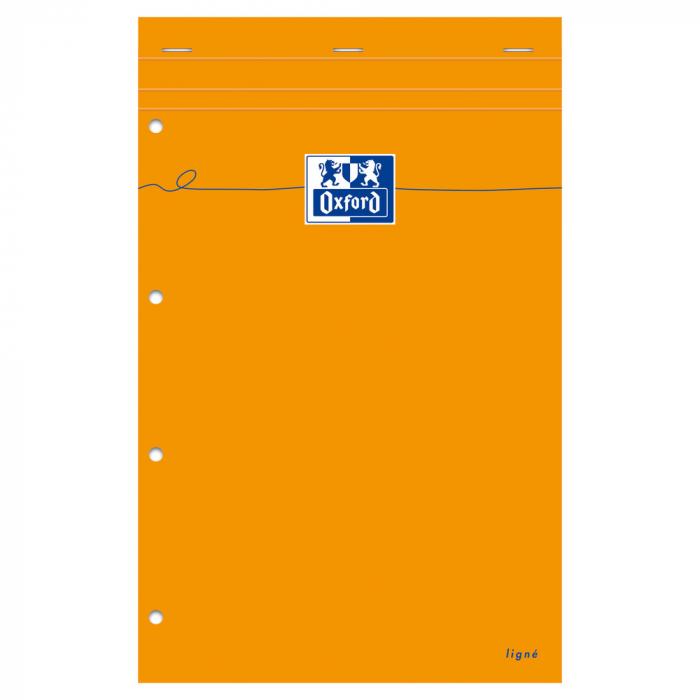 Blocnotes A4+, OXFORD Orange, 80 file galbene - 80g/mp, Scribzee, 4 perf, coperta carton - dictando 1