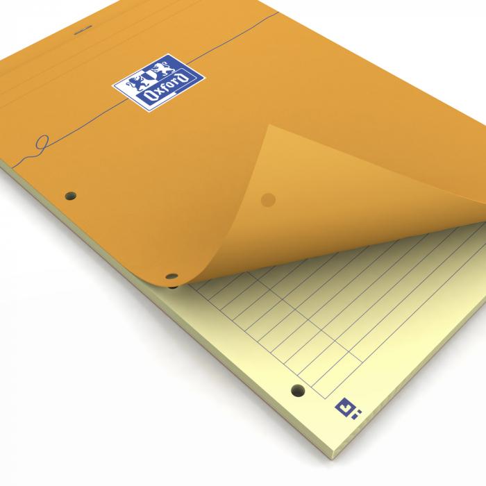 Blocnotes A4+, OXFORD Orange, 80 file galbene - 80g/mp, Scribzee, 4 perf, coperta carton - dictando 0