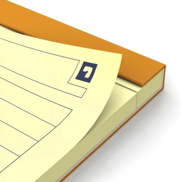 Blocnotes A4+, OXFORD Orange, 80 file galbene - 80g/mp, Scribzee, 4 perf, coperta carton - dictando 4