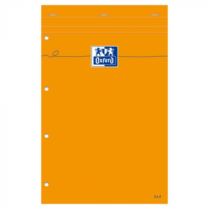 Blocnotes A4+, OXFORD Orange, 80 file galbene - 80g/mp, Scribzee, 4 perf, coperta carton - mate 0
