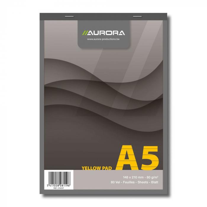 Blocnotes capsat, A5, 80 file - 80g/mp, microperforatii, AURORA Office - dictando - hartie galbena 0