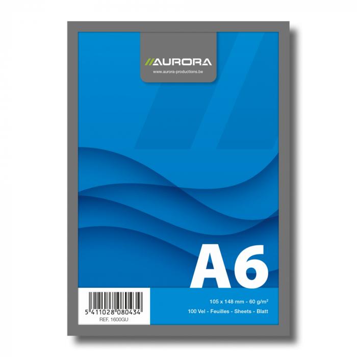 Blocnotes capsat, A6, 100 file - 60g/mp, microperforatii, AURORA Office - velin 0