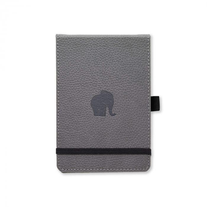 Blocnotes cu elastic, A6+, 96 file-100g/mp-cream, coperti rigide gri, Dingbats Elephant - dictando [0]
