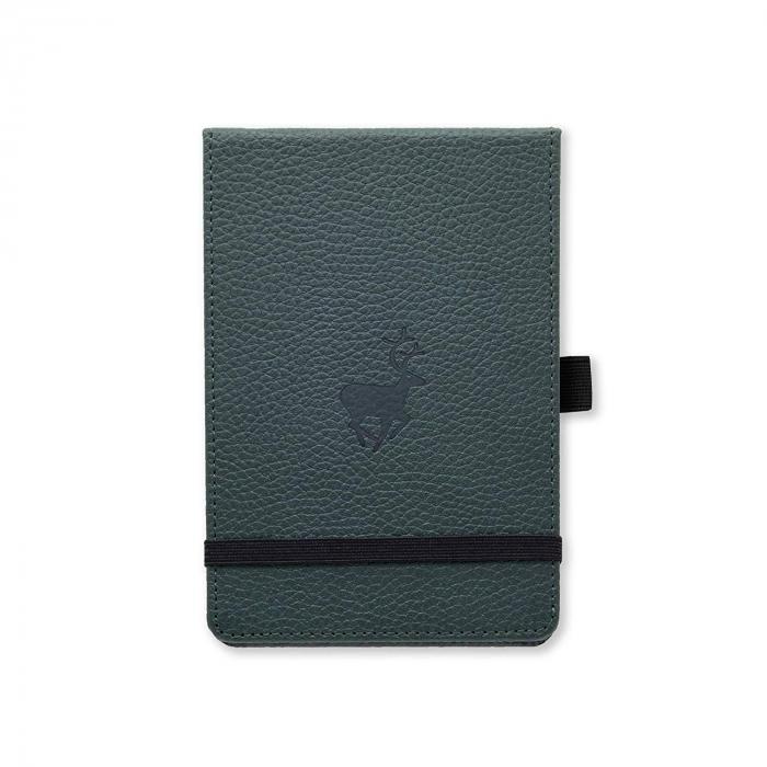 Blocnotes cu elastic, A6+, 96 file-100g/mp-cream, coperti rigide verzi, Dingbats Deer - cu puncte [0]