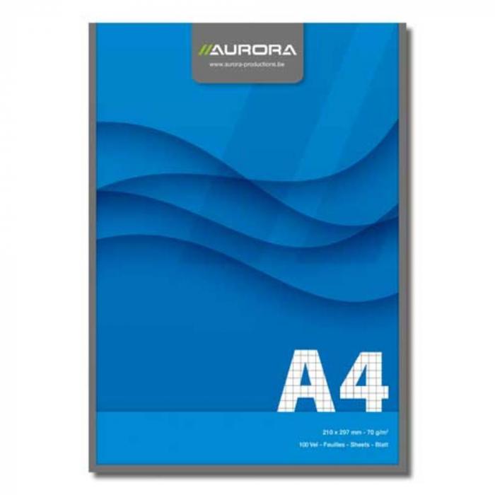 Blocnotes lipit, A4, 100 file - 70g/mp, AURORA Office - matematica 0