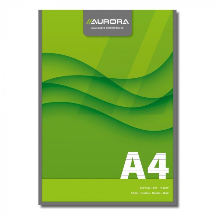 Blocnotes lipit, A4, 50 file - 70g/mp, AURORA Office - dictando 0
